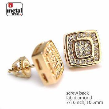 Jewelry Kay style Men's Brass 14k Gold Plated Oval Double Square Screw Back Stud Earrings BE 054 G