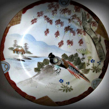 Vintage Japanese Chinese Porcelain Plate Marked Bird  Motive, Home Decor, Kitchen Decor, Table Decor