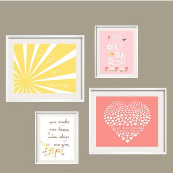 ON SALE You Are My Sunshine  Rosette Bedding, sun rays, tulips, pink bird, heart 11x14 and 8x10 FREE Shipping