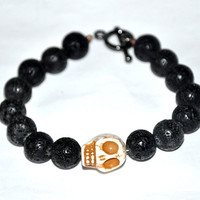 Men's Bracelet, Skull Bracelet, Black Lava Stone Bracelet, Masculine Bracelet, Man Gift, Tough Guy, Strength, Fertility