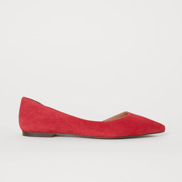 Suede Flats - Red - Ladies | H&M US