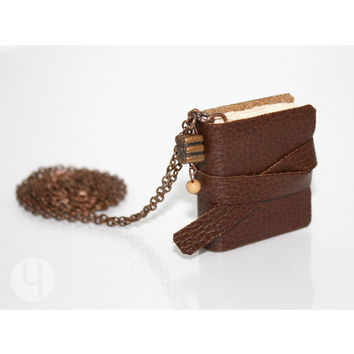 Vintage Chocolate MiniBook Necklace