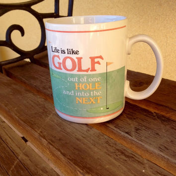 Golf Mug life is like Golf Mug, vintage Golf Mug, Golfers Gift, Men's Gift, Father's Gift