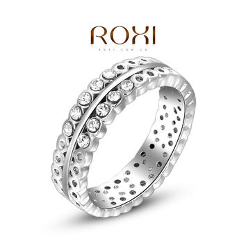 ROXI Christmas Delicate Blue Party rings Man-made Fashion Platinum Plated Pierced Ring