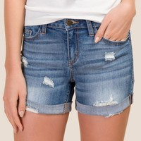 Harper Mid Rise Destructed Rolled Cuff Jean Shorts
