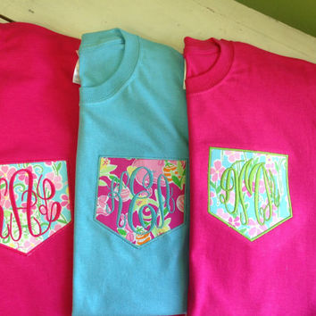 LONG SLEEVE Monogrammed Pocket Tee - Lilly Pulitzer Fabric Monogrammed Pocket T Shirt - Style 3