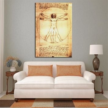 New PRINT IMPRESSION LEONARDO DA VINCI VITRUVIAN MAN, C.1492 print CANVAS WALL ART PRINT ON CANVAS OIL PAINTING