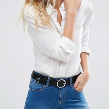 ASOS Tipped End Circle Buckle Jeans Belt at asos.com