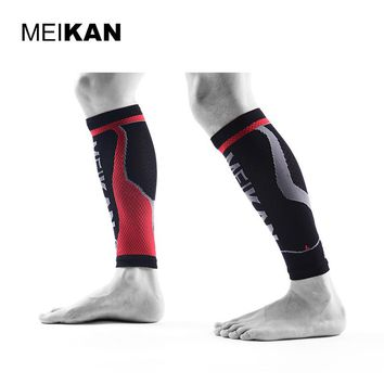 MEIKAN Cycling Leg Warmers Men Brand Black Sport Compression Socks Running Espinilleras Futbol Soccer Leg Protection Shin Guards
