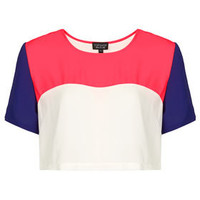 Crop Colourblock Tee - Tops  - Clothing