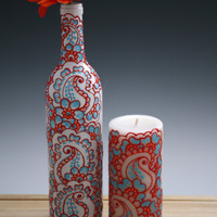 Wine bottle Vase with matching candle set, White with red, orange and blue accents, Henna style design