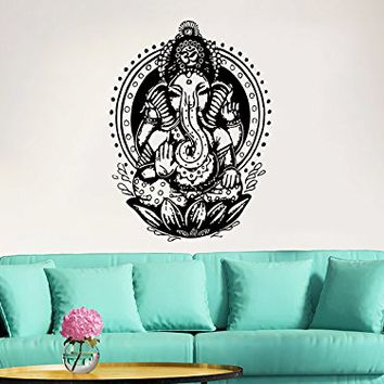 Elephant Wall Decal Vinyl Stickers Yoga Ganesh Om Lord Hindu Success Decals Tribal Buddha Om Lotus Home Decor Indie Elephant Wall Art Boho Bedding Bedroom ZX115