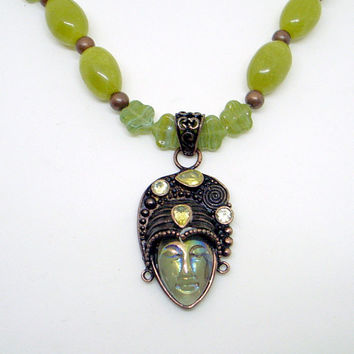 Mysterious Lady Statement Necklace - Bronze Carved With Citrine Gemstones - Green Iridescent - Jade