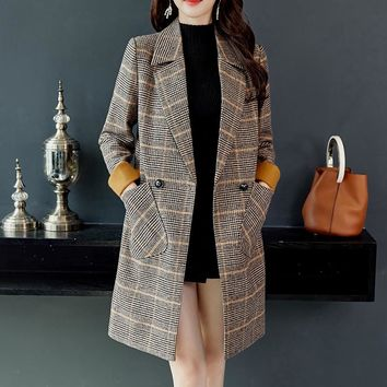 Wool Women Plaid Pockets Blends Office Work Long Slim Lapel  Coats