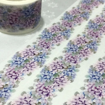 Classic purple flower Washi tape 7M x 3cm pretty wild flower Vibrant blue flower EXTRA WIDE Masking tape flower drawing decor sticker tape
