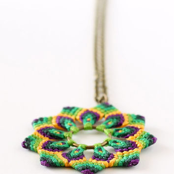 Mandala macrame flower necklace hippie boho green yellow purple