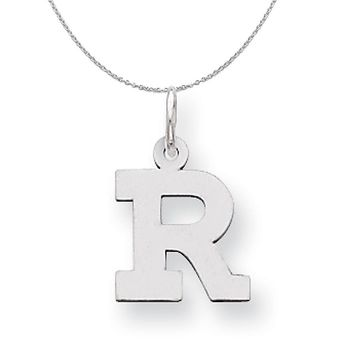 Silver, Amanda Collection Small Block Style Initial R Necklace
