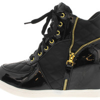 AVA BLACK QUILTED ZIPPER SNEAKER WEDGE BOOT