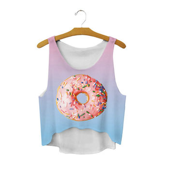 Women's Odd Future Donut Cute Sexy Girl Cropped Sports Summer Harajuku Style Camisole Youth Tank Top Crop Tops
