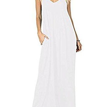 MIHOLL Women's Summer Casual Sleeveless V Neck Loose Plain Maxi Dresses with Pocket