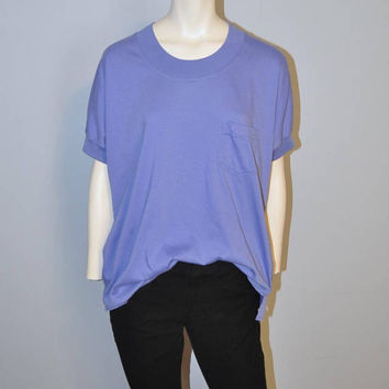 Vintage 1990's Express Scoop Neck Short Sleeve Purple Pocket T-Shirt Size Large Tee Relaxed Fit Soft Comfortable Basic Top TShirt Periwinkle