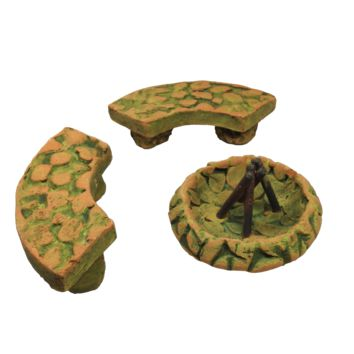 Fairy Garden Green Fire Pit and Two Benches - Bundle of 3