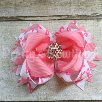 Breast cancer awareness  bow  -- Cancer Bow -- pink ribbon -- girls save the tattas bow  -- Girls OTT bow