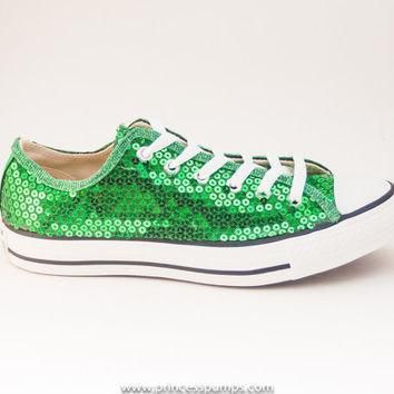 kelly green sequin canvas converse canvas low top sneakers shoes