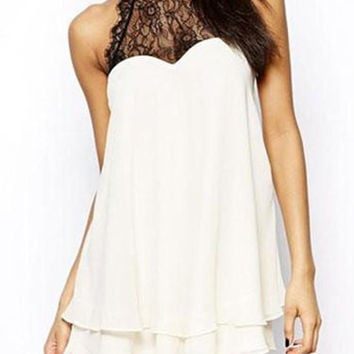 White Sleeveless Lace Panel Chiffon Dress