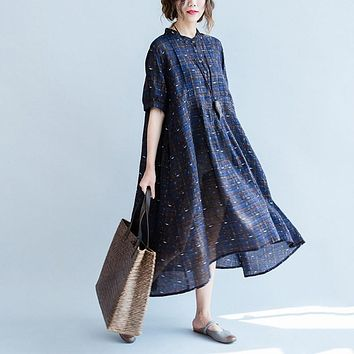 Women Vintage Maxi Dress Cotton Linen Short Sleeve Round Neck Loose Dress Oversized Summer Retro Robe Maxi Long Evening Vestidos
