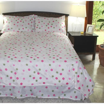 Girls Comforter Set - Flower Blossom White - Kids Style in Twin Size