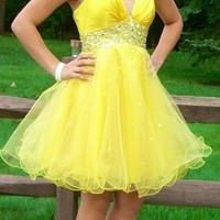 Mori Lee, Yellow Homecoming Dress