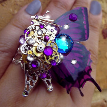 Steampunk ring, butterfly ring, purple ring, silver steampunk, filigree ring, cocktail boho ring, OOAK, magic ring, watch gear ring, art
