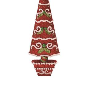 "6"" Red Battery Operated Flameless LED Lighted 3-Wick Flickering Wax Christmas Pillar Candle"