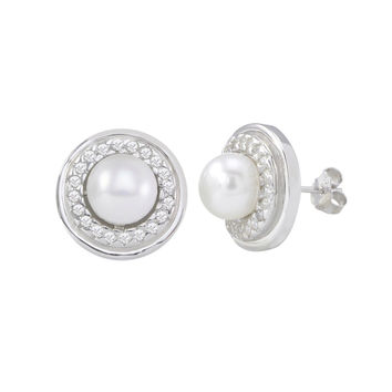 White Freshwater Pearl Stud Earrings Fancy White Circle CZ Sterling Silver