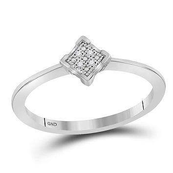 Sterling Silver Women's Round Diamond Simple Square Cluster Ring .01 Cttw - FREE Shipping (US/CAN)