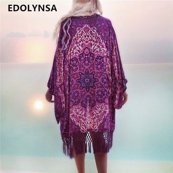 New Arrivals Beach Cover up Floral Romantic Swimwear Ladies Pareo Beach Cape Purple Tassel Beach Dress Chiffon Swimwear #Q149