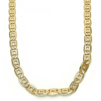 Gold Layered 04.63.1365.24 Basic Necklace, Pave Mariner Design, Matte Finish, Golden Tone