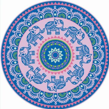 Ethnic Elephant Print Round Beach Blanket Towel In Blue & Pink
