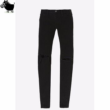 Man Si Tun Men's designer clothes famous brand slp ankle zipper justin bieber rockstar black distressed ripped skinny FOG jeans