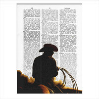 Vintage Dictionary Sunset Cowboy Dictionary Art Print