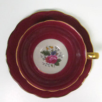 Royal Bayreuth Tea Cup and Saucer Burgundy
