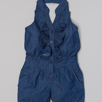 Medium Blue Ruffle Denim Halter Romper - Toddler & Girls | Daily deals for moms, babies and kids