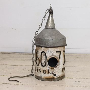 Rustic Reproduction License Plate Funnel Topped Birdhouse