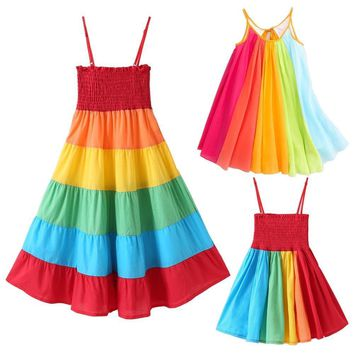 Rainbow Dress For Girl Ball Gown Toddler Girl Summer Dresses