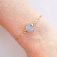 Light Blue Druzy Bracelet - OOAK Jewelry