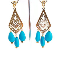 Turquoise Drops Chevron Earrings Arrow Jewelry by camilaestrella