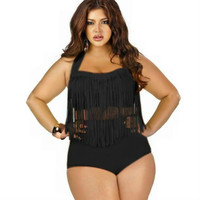 Plus Size Swimwear High Waisted Bikini Set Women Swimsuit Female Bathing Suits Black White Bikinis Push Up Sexy Beach Swim Suit