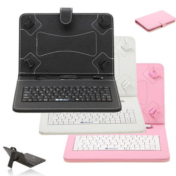 """iRulu 7"""" 9"""" 10"""" PU Leather Micro USB Keyboard Case With Buttons Stand Cover for Tablet = 1932622404"""
