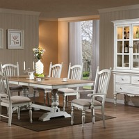 7 pc Holly hock collection country style white and natural finish wood double pedestal dining table set